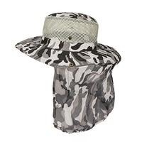 Chapéu de pesca aba larga malha respirável unisex esporte ao ar livre pesca caminhadas chapéu proteção uv rosto pescoço aleta homem sol boné|Bonés de pesca| |  -