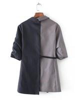 Autumn Spring Fashion Women Three Quarter Length Sleeve Lapel Casual Stripes Two Tone Wrap Blazer