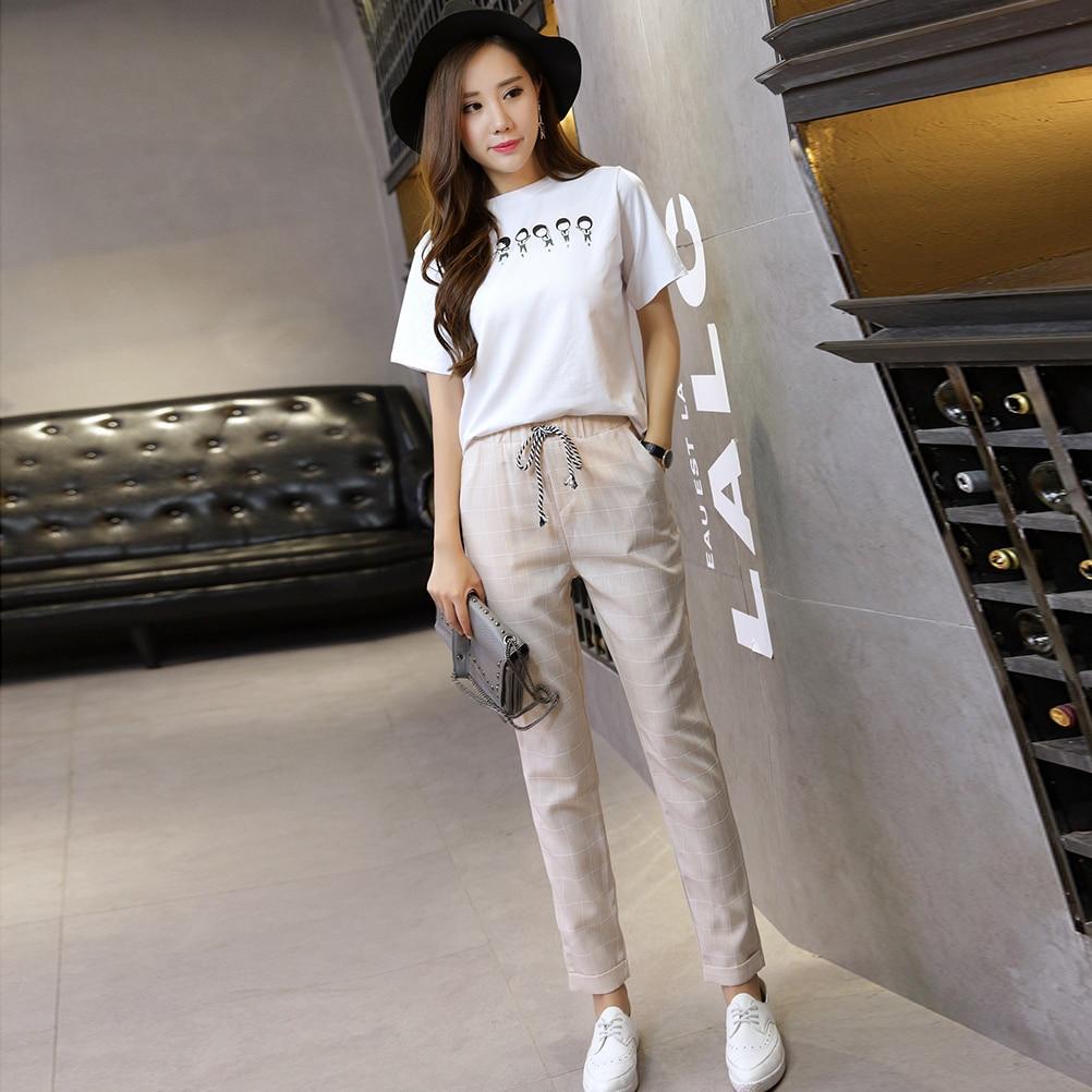 Women's Plaid Casual Pencil Pants Spring Pants Elastic Waist Harem Pants Fashion Ankle-Length Trousers Female