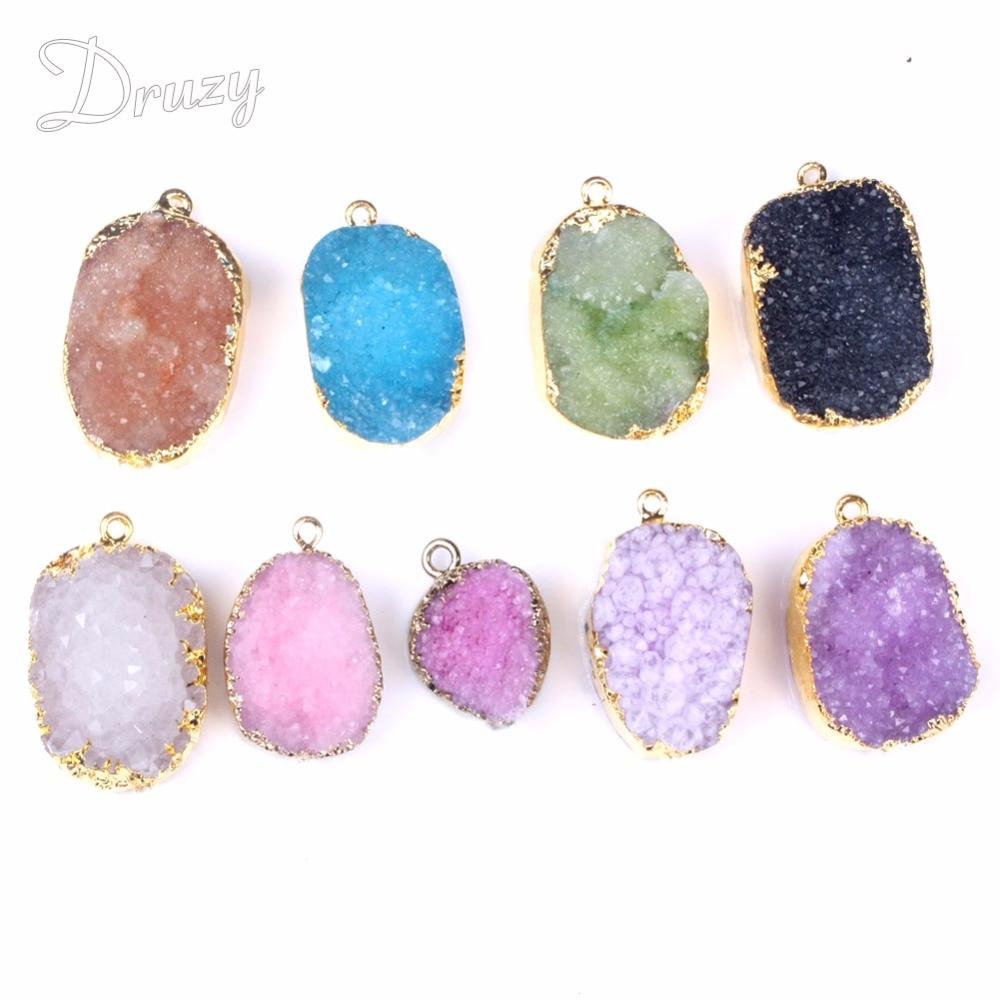 Druzy Free From Drusy Natuursteen hanger ketting vintage goudkleurige ruwe kristal groene ketting voor dames sieraden