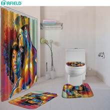 Dafield Shower Curtain And Bath Mat set Contour Rug Toilet Lid Cover Toilet Polyester Cover Shower Curtain Sets With Rug(China)