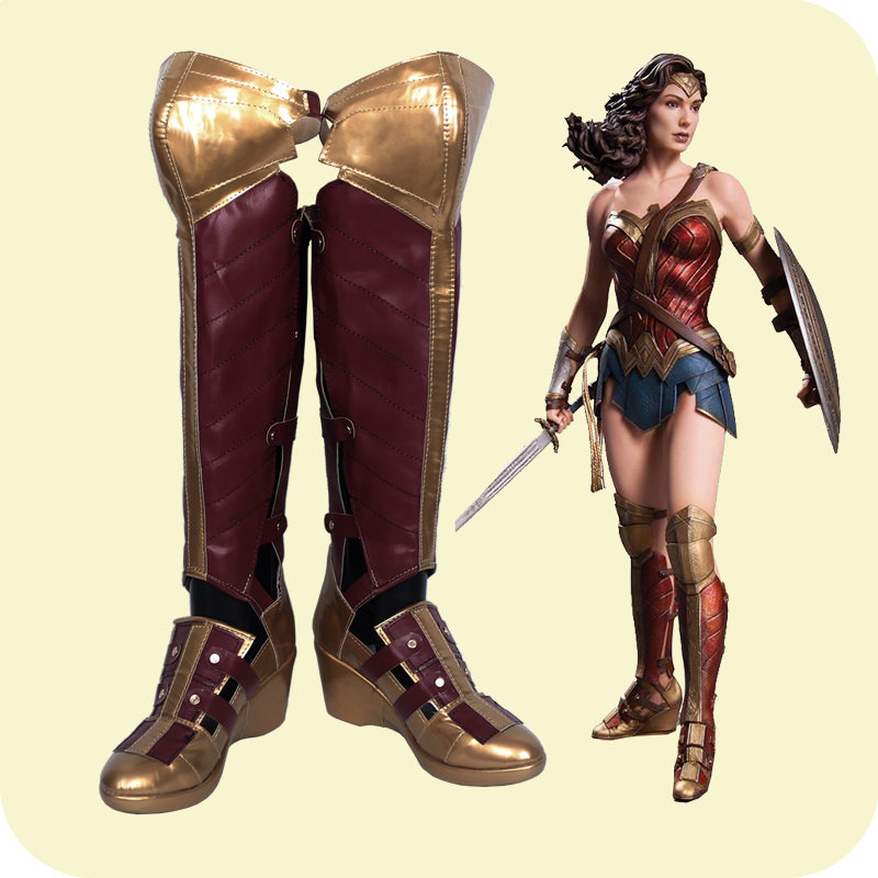 1:1 Movie Wonder Woman Cosplay wedge heel Shoes Diana Princess Hollow Out Long Boots Gal Gadot  Role Play shoes large size