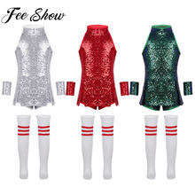 Kids Girls Glitter Modern Jazz Dance Costume Children Street Hiphop Dance Wear Girl Stage Show Performance Dress Shiny Clothing(China)