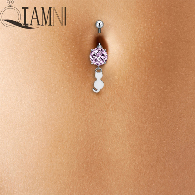 Us 0 73 39 Off Qiamni Beach Sexy Tiny Rabbit Animal Piercing Bar Navel Belly Button Crystal Bunny Barbell Ring Stainless Steel Body Jewelry In Body