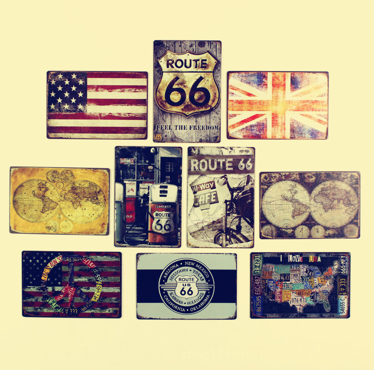 American Rural Style Retro Creative American Flag Route 66 Tin Sign ...