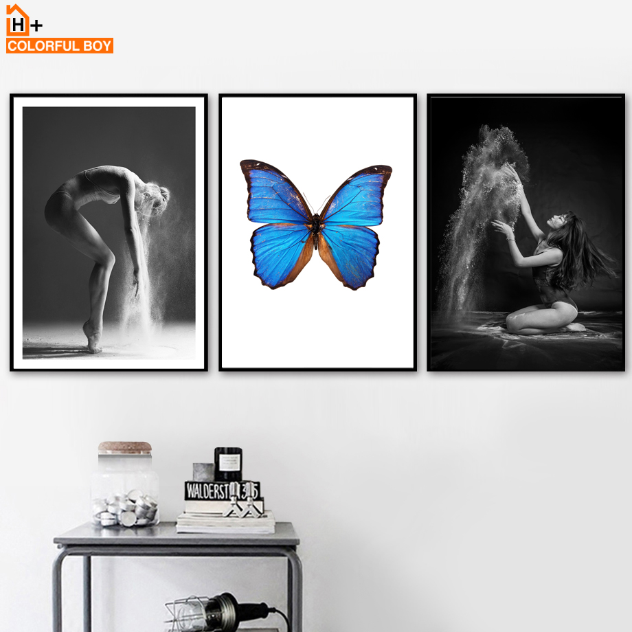 COLORFULBOY Butterfly Dancer Canvas Art Print Pop Posters And Prints Painting Wall Pictures For Living Room Decor