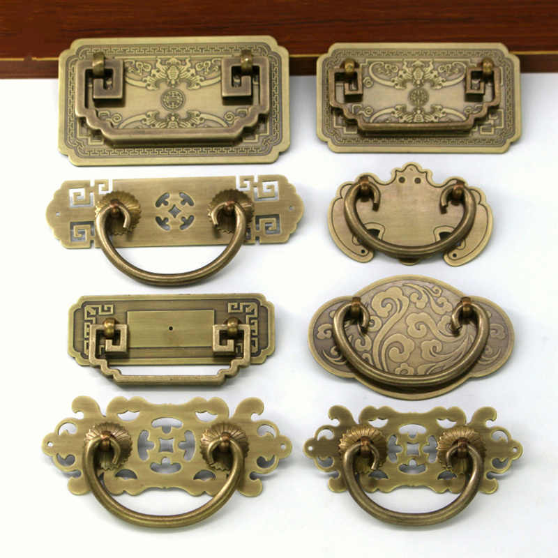 Retro cupboard handles Antique Drawer Pulls Vintage Kitchen Cabinet Handles and Knobs Green bronze furniture hardware