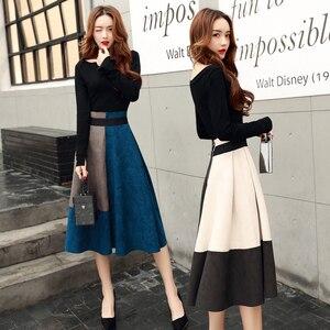 Image 1 - Jesień zima nowy 2018 moda damska eleganckie dwa kawałki zestawy kobiece koszule z okrągłym dekoltem i spódnica trzy czwarte zestaw panie białe niebieskie garnitury