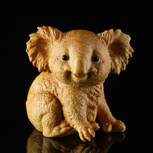 Chinese Boxwood Lazy Koala Carving Animal Ornaments Hand Piece Craft Culture Gift Home Decoration