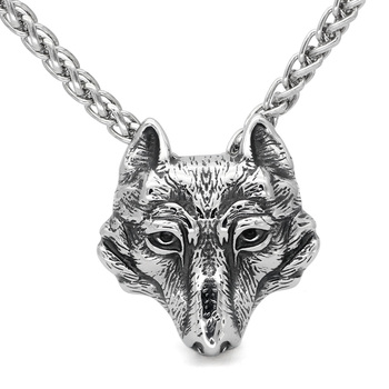 Viking Wolf Head Nordic Amulet Stainless Steel Viking Necklace  Viking Necklace