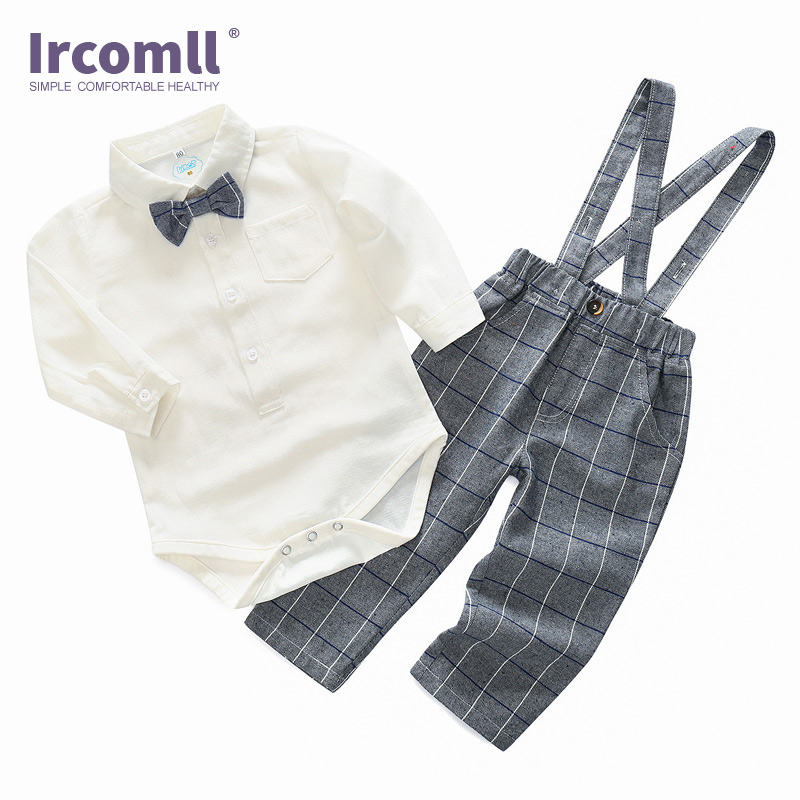 Ircomll Newest Spring Baby Boy Clothing Set England Style Gentleman Suit Long Sleeve Bow Tie Shirt Bodysuit + Lattices Ovearalls