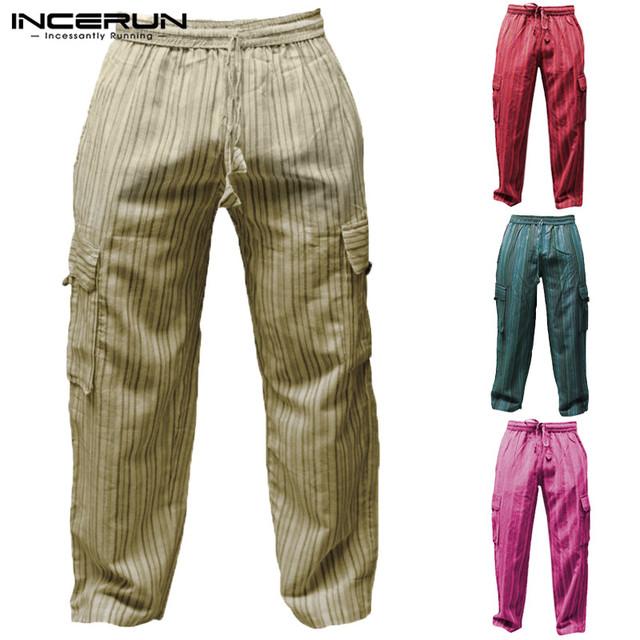 Boho Men Casual Pants Baggy Wide Legs Striped Cotton Loose Fitness Cargo Trousers Joggers Elastic Waist 5XL Khaki Pants INCERUN