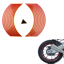 32 Pcs/2 Sets Red+Silver Motorcycle Tape Reflective Wheel Stickers Decals 17/18 Wheels Safety Rim Tapes Pre-Curved Waterproof