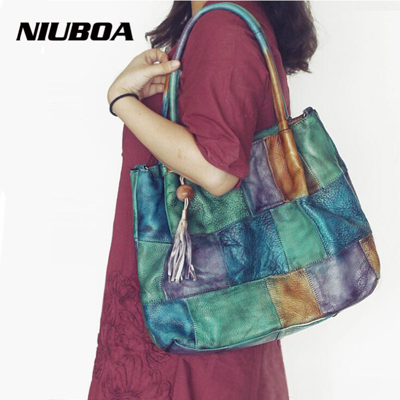 NIUBOA Luxury Women Genuine Leather Bag Vintage Cowhide Messenger Bags Handbags Patchwork Designer Female Big Tote Shoulder Bag qiaobao 100% genuine leather women s messenger bags first layer of cowhide crossbody bags female designer shoulder tote bag