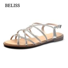 BELISS 2019 Woman Sandals Female Flats Shoes Fashion Peep Toe Rhinestones Chains Gladiator Summer Flat for Women S64