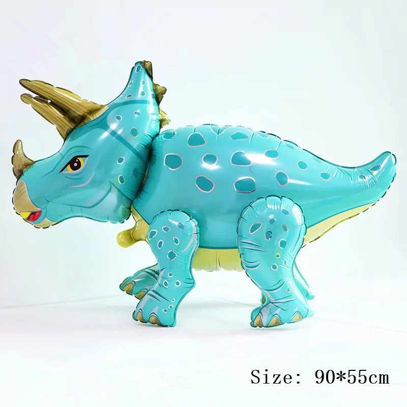 1pc Large 4D Walking Dinosaur Blue Foil Balloons Birthday Party Decorations Kids Babyshower Toy Boys Dinosaur Decor Favor Globos