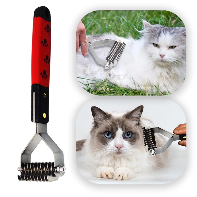 10/13/17 cuchillas Pet rastrillo cepillo peine perro gato pelo desprendimiento Trimmer Grooming cepillo Dematting cortador Clipper mascotas