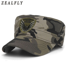 ab0220cff8f New Camo Flat Cap U.S.Army Flat Top Men S Caps Hot Embroidery Eagle  Military Hats For