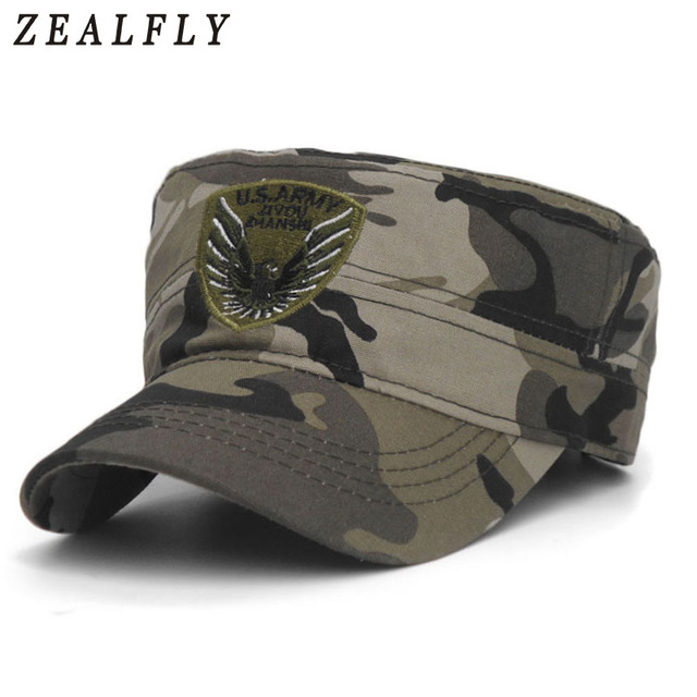 2466564c45f New Camo Flat Cap U.S.Army Flat Top Men S Caps Hot Embroidery Eagle Military  Hats For Men Camouflage Outdoor Baseball Cap