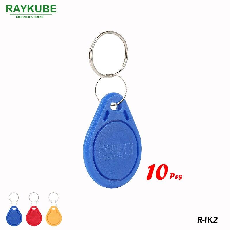 RAYKUBE R-IK2 Keyfob 10Pcs/Lot 125Khz RFID Proximity Keyfobs For Door Access System raykube 125khz rfid proximity keyfobs 10pcs lot tk4100 em keytags rfid for access control keyfobs r ik1