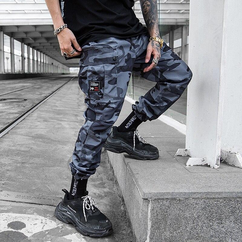 New Blue Camo Cargo Pants Men Tactical Pocket Trousers Hip Hop Casual Streetwear Camouflage Pants Loose Running Men Jogger