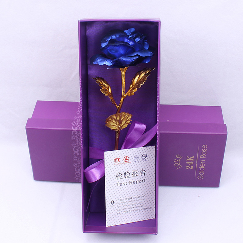Креативный подарок Роза эмуляция цветок 24 к Золотая фольга Роза подарок на день Святого Валентина одиночный позолоченный букет розы коробка Золотая фольга цветок - Цвет: 02