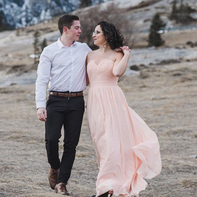Elegant Vestido De Festa Longo Sheath   Bridesmaid     Dresses   Pink Chiffon Floor Length Long Party   Dress   Cheap   Bridesmaid   Gowns