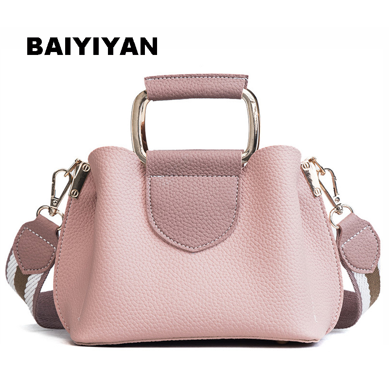 New European and American Retro Handbag Shoulder Messenger Bag High Quality PU Leather Small Metal Handle Tote Bag