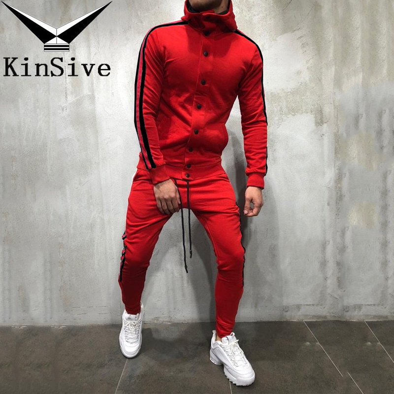 Tracksuit Set Men Button Cardigan Sporting Track Suit Male Fitness Long Sleeve Hoodies Sweatshirts + Pants 2 Piece Jogger Set