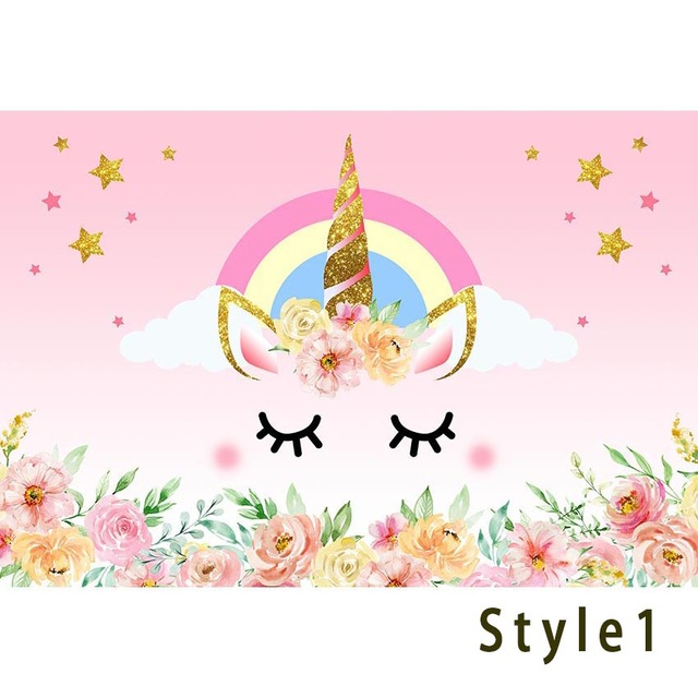 Unicorn Backdrop Rainbow Flower Birthday Party Banner Background Baby Shower Decorations Photography Backdrop Photo Booth