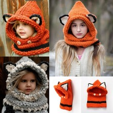 Kid/Adult Animal Fox Kitty Fashion Design Crochet Knitted Wool Chunky Hooded Cowls Hat/Scarf Winter Warm Photography Props Cap