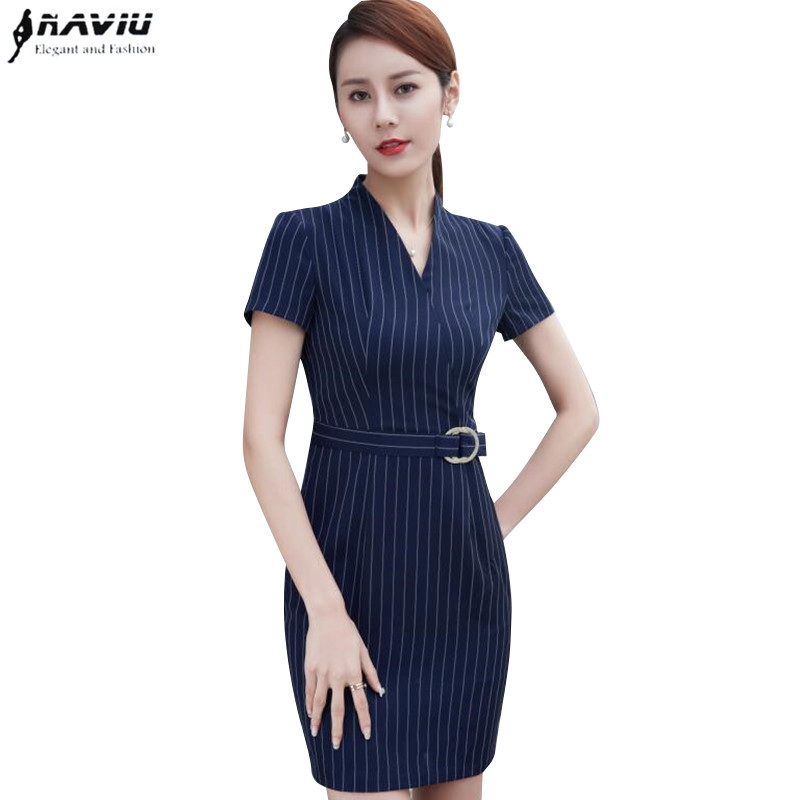 Summer Fashion women Stripe dresses OL formal Temperament V-Neck short sleeve slim dress office ladies Plus size work Uniforms short dresses office wear