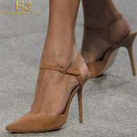 Women Shoes Ladies Pump Brown Suede Slingback Heels Ankle Strap Stiletto Heel 2020 Spring Autumn Plus Size Shoes41 42 43