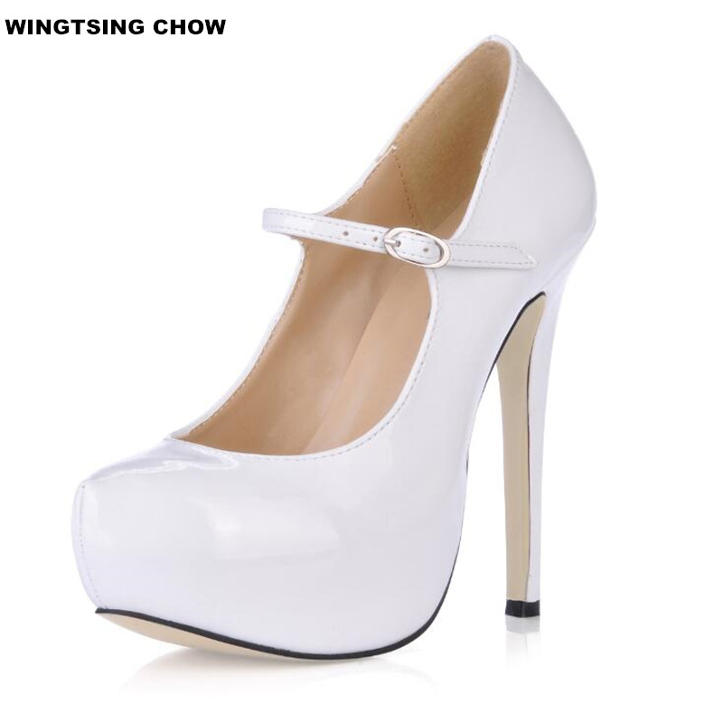 10 Color New Brand Patent Leather Mary Janes High Heels Black And White Shoes Women High Heels Platform Dark Blue Pumps