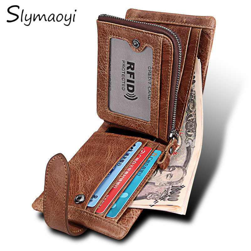 Slymaoyi Classical Men Wallets Genuine Leather Short Wallet Fashion Zipper Brand Purse Card Holder Wallet Man With Coin Bag 2017 new cowhide genuine leather men wallets fashion purse with card holder hight quality vintage short wallet clutch wrist bag