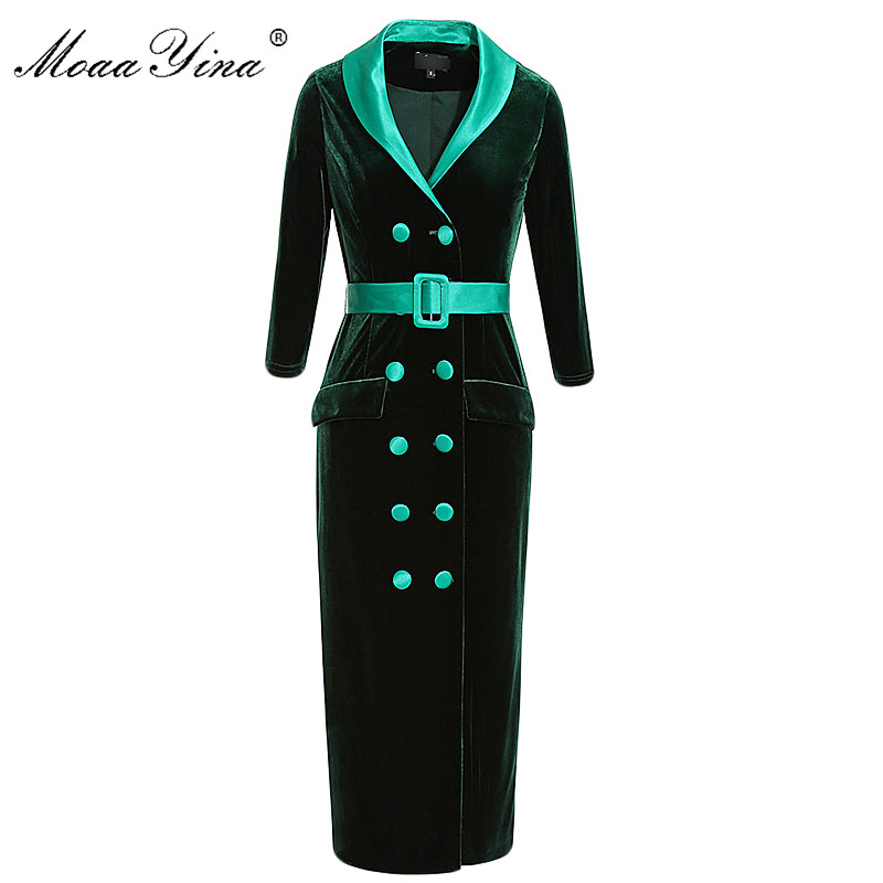 MoaaYina Fashion Designer Runway Dress Spring Women s 3 4 Sleeve Belt Double breasted Elegant Pencil