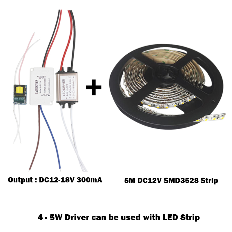4-5W LED Driver Power Supply Adapter DC12-18V AC90 - 265V Constant Current 240-300mA Transformer For 5050/3528 LED Strip
