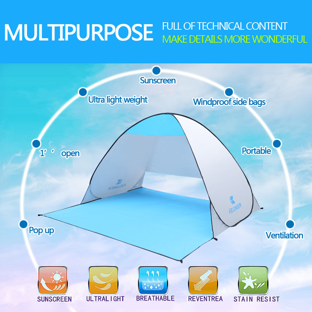 Image 5 - (120+60)*150*100cm Outdoor Automatic Instant Pop up Portable Beach Tent Anti UV Shelter Camping Fishing Hiking Picnic-in Tents from Sports & Entertainment