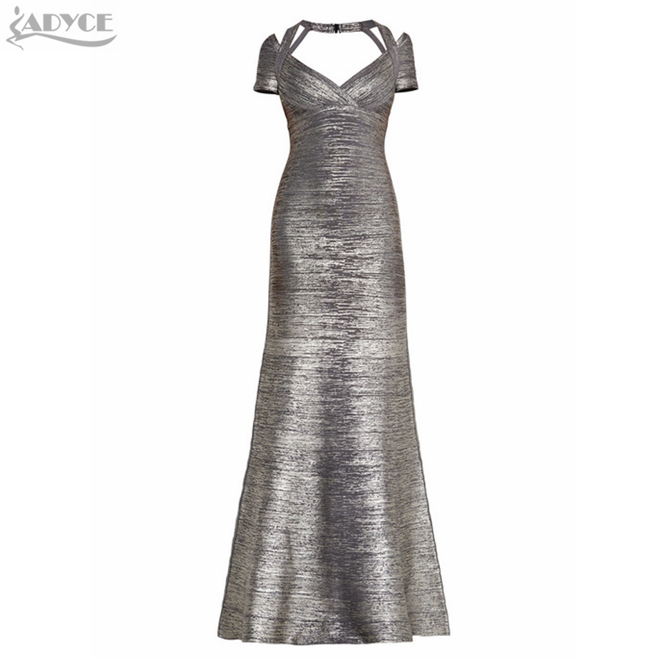 2019 New Summer Women Sexy Metallic Bandage Dress Silver V-Neck Floor-Length Evening Celebrity Party Bandage Vestidos Wholesale