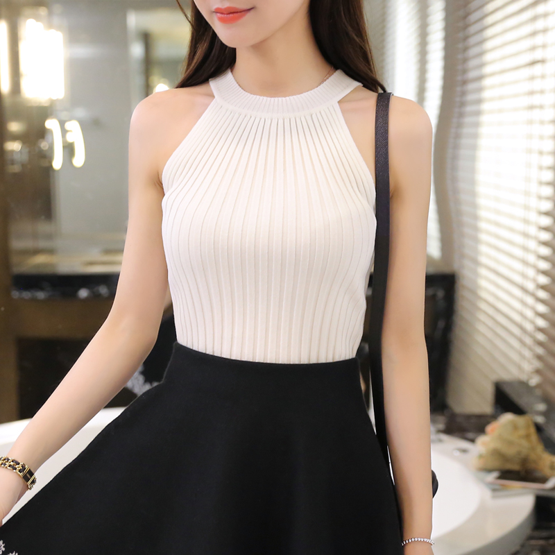 Women Spring Summer Sweater tanks sleeveless Knitted Camis Slim Halter Neck Sexy Strapless 3