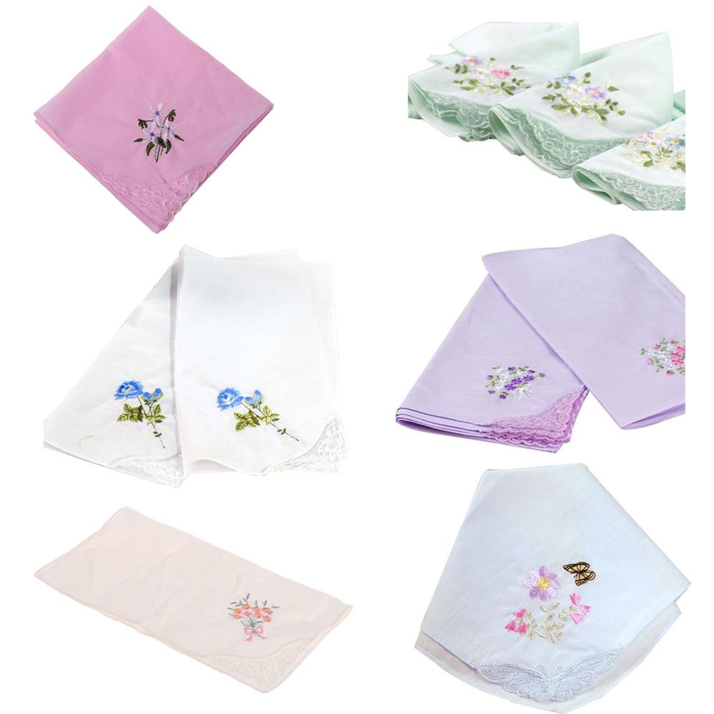 3Pcs/Set 29x29cm Women Square Handkerchief Floral Embroidered Candy Color Pocket Hanky Lace Patchwork Cotton Baby Bibs Portable