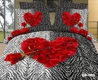 สีแดงสีดำดอกกุหลาบม้าลายผิวรูปหัวใจ3dพิมพ์เตียงชุดE Gytian