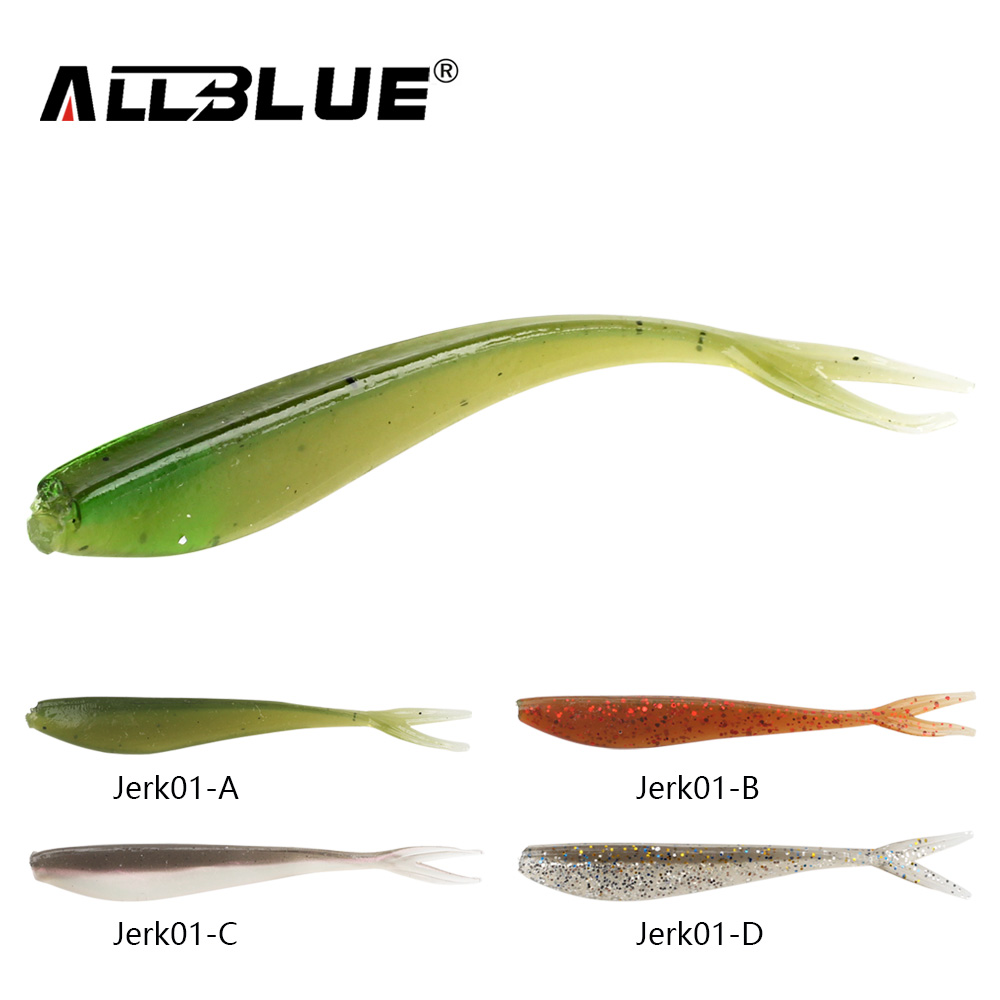 ALLBLUE 12pcs/lot 1.5g/7.5cm Soft Jerk Bait Fishing Lure Shad Jerkbait Soft Silicone Bass Minnow Bait Swimbaits Split Tail Peche mix color package on soft lure 15 cm shad bait soft bait for boat fishing