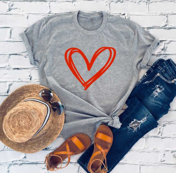 Забавная Футболка с принтом сердца и красными буквами, подарок на день Святого Валентина, подарок подруге, стиль гранж, модная футболка 90 s, Молодежный графический