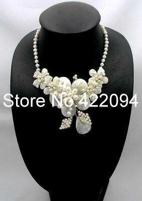 Natural White Mother of Pearl/MOP Shell Pearl Flower Leaf Bib Necklace a suit of leaf faux pearl rhinestone necklace and earrings