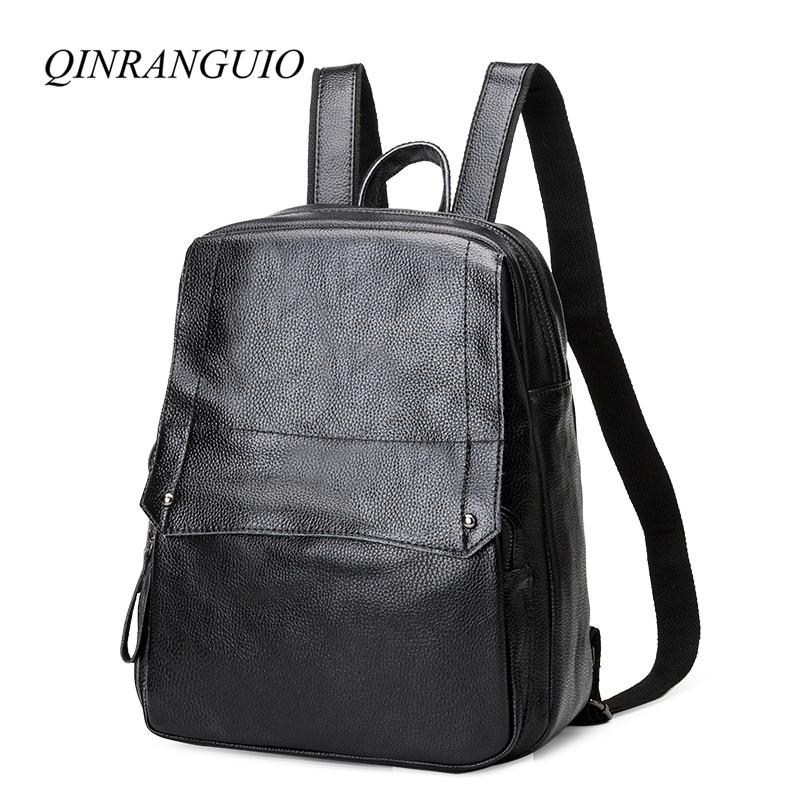 QINRANGUIO 100% Cow Leather Women Backpack School Genuine Leather Backpack Women Black Backpack School Bags for Teenage Girls genuine leather backpack 100
