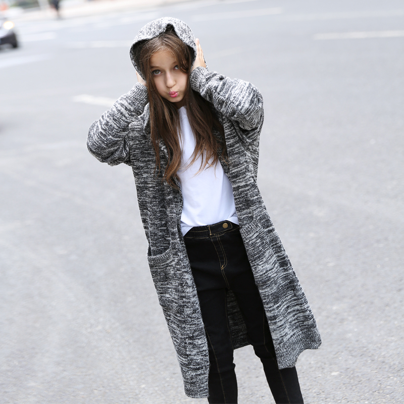 2018 Girls Sweater Cardigan Casual Clothes Fashion Loose Design for Teens Jacket Windbreaker Age56789 10 11 12 13 14Years Old