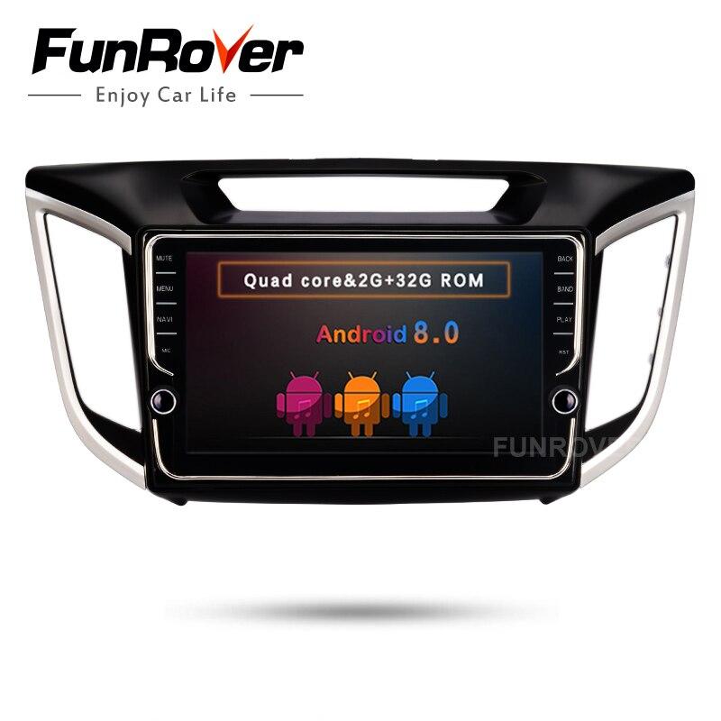 FUNROVER 2 din android 8.0 car dvd gps player stereo For Hyundai IX25 ix25 CRETA navigation audio radio tape recorder BT WIFI FM