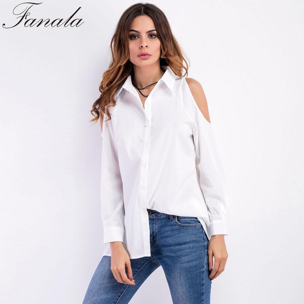 Fanal Off Shoulder Shirt White Black Long Sleeve 2017 Solid Women