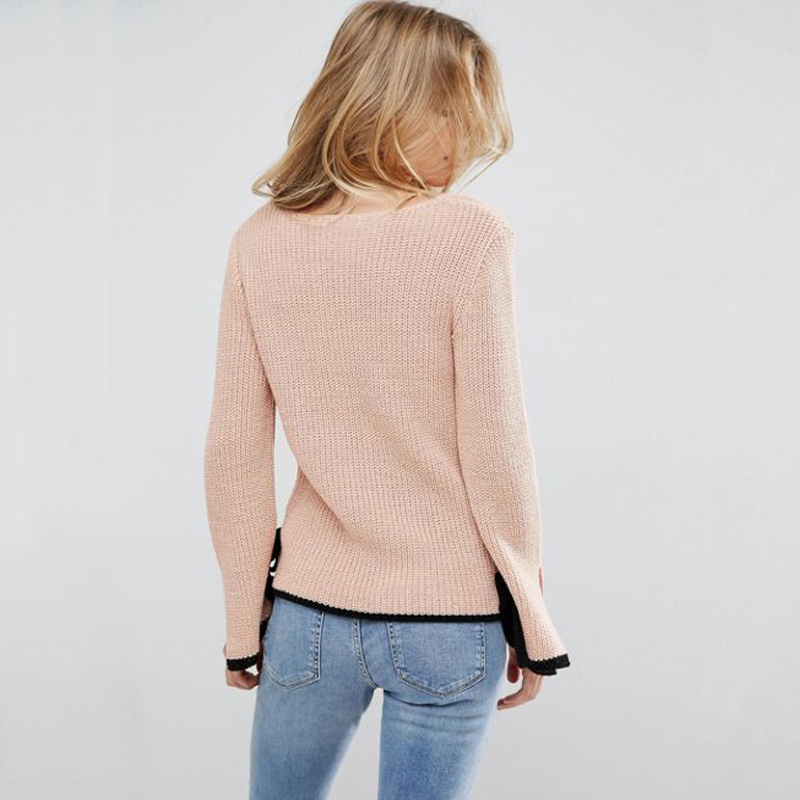 Richkoko Light Pink Women Sweet Tops V neck Purity Cute Sweater Female  Pagoda Flare Sleeve Jumpers Ladies Split Ends Sleeve -in Pullovers from  Women s ... d8676ccc9